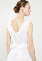 edit - Fit and flare linen blend dress - white