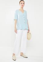 edit - Button down peplum blouse - blue