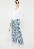 edit - Border print pants with draw cord - multi