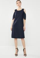 edit - Cold shoulder linen blend dress - navy