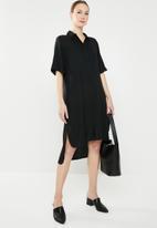 edit - Hi-Lo shirt dress - black