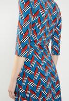 edit - Wrap over fit & flare dress - multi