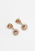 STYLE REPUBLIC - Statement diamante earrings - pink & gold
