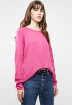 Jacqueline de Yong - Pandora longsleeve pullover knit - pink