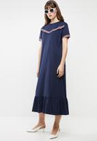 MANGO - Frill cotton short sleeve dress - navy