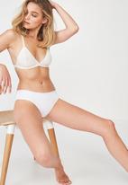 Cotton On - Cotton rib cheeky bikini brief  - white