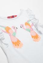 POP CANDY - Girls Ruffle Sleeve Printed T-shirt - white