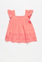 POP CANDY - Anglaise detail blouse - coral