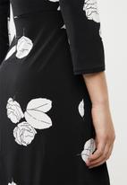 MANGO - Front tie textured dress - black