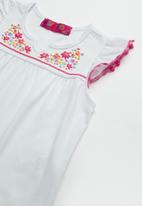 POP CANDY - Baby Girls Lace Trim Tee - white