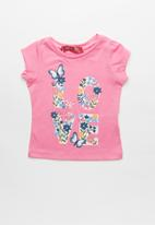 POP CANDY - Baby Girls Butterfly and Flower Tee - pink