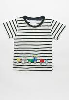 POP CANDY - Stripe tractor tee - navy & white