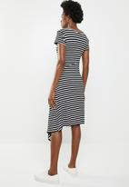 edit - Asymmetric hemline dress - black & white