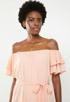 edit - Flutter sleeve shift dress - peach