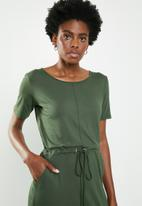 edit - 3/4 sleeve draw-cord dress - green