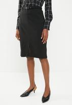 edit - Pencil skirt with belt - black