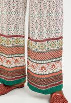 edit - Border print pants with drawcord - multi