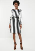edit - Shift dress with studs - Black & white