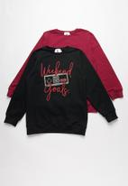 Rebel Republic - 2 pack sweat top - black & burgundy
