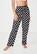 Cotton On - Flannel paper bag pant  - black