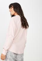 Cotton On - Waffle crew long sleeve top  - pink