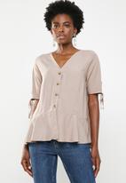 edit - Button down peplum blouse - neutral