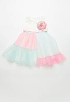 POP CANDY - Pastel colour block dress with flower detail - multi
