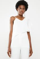 edit - Strappy overlay top off - white