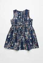 POP CANDY - Girls dark floral skater dress - navy & white