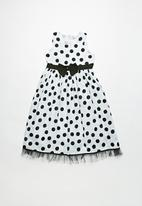 POP CANDY - Polka dress with bow - black & white