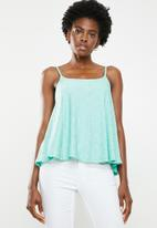 edit - Lace inset cami - green