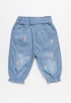 POP CANDY - Girls floral print denim joggers - blue