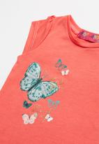 POP CANDY - Baby girls butterfly printed T-shirt - coral
