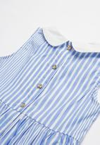 POP CANDY - Girls collared dress - blue & white