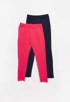 Rebel Republic - Kids 2 pack leggings - navy & pink