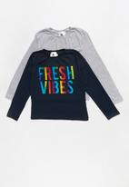 Rebel Republic - Kids 2 pack long sleeve top - grey & navy