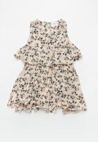 POP CANDY - Printed sleeveless dress with hat - beige