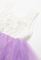 POP CANDY - Layered mesh dress - white & purple