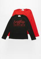 Rebel Republic - Kids 2 pack long sleeve top - black & red