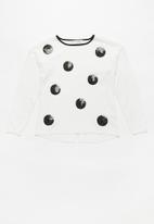 MINOTI - Kids sequin fine knit jumper - black & white