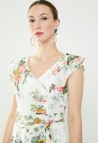 Revenge - Floral front tie wrap dress - multi