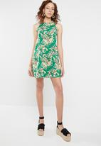 c(inch) - A-line dress - green & yellow
