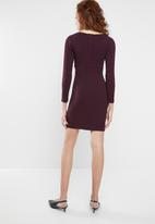 Superbalist - Long sleeve dress with pleats - burgundy