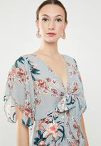 Revenge - Grey floral maxi with tie front - blue