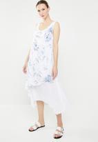 Revenge - Double layer floral dress - blue & white
