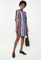 edit - Short sleeve shirt dress - multi