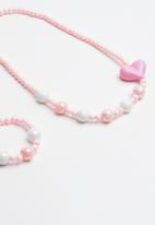 POP CANDY - 2 piece necklace and bracelet set - pink & white