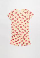 POP CANDY - Heart print pj set - yellow & pink