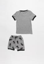 POP CANDY - Dino print pj set - grey & black