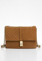MANGO - Chain leather bag - brown